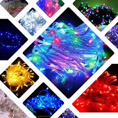 Цвета Разные!!! рис, матовые, Гирлянда LED белый и черный провод 100, 200, 300, 500 ламп