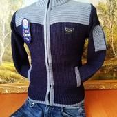 В наличии ф1,2,4.Вязаный свитер на молнии под горло 40%шерсть  6-15лет