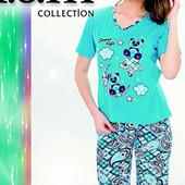 Выкуп 20 08Яркие хлопковые пижамки-футболка+бриджи,шорты.от42 р.до 58р.Турция