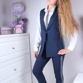 В наличии черные 134,140,164 !!!Комплект школьный брюки кардиган 134-164р