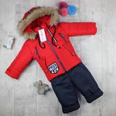 Красные будут в понедельник! Зимний комбинезон для мальчиков. Украина. 92.98.104.110