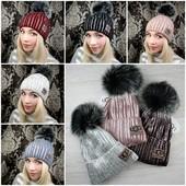 """Трендовые теплые шапочки """"Ugg"""" с натуральным помпоном. Выкуп 18.12 Мои реальные фото)"""