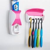 Автоматический дозатор для зубной пасты+подставка для зубных щеток для всей семьи и детский