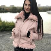 Pink! Куртка-кожанка в цвете пудра, утепленная