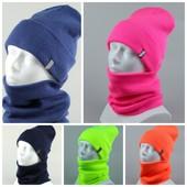 Стильный молодежный комплект шапка+бафф, шерсть и акрилл, новые цвета