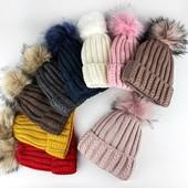 Теплые шапочки на флисе с помпоном, полушерсть,Ог 54-60