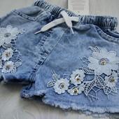 Джинсовые шорты для девочек, Турция. в наличии 110,116