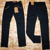 Модные бомбезные котоновые брюки в школу на девочку 134-164 р. черный и темно-синий