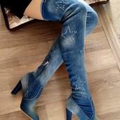 В наличии 37р. + новый сбор!!! Классные джинсовые ботфорты со звездами. Размеры 36-41