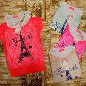 Новинка!!! Яркая футболка 2 в 1 для модниц 4-12 р